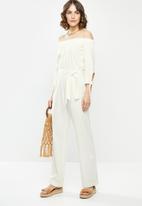 edit - Linen Off the shoulder jumpsuit - white