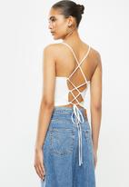 Blake - Halter cross back tie crop top-ivory