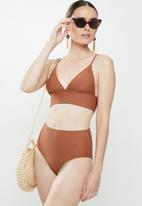 Vero Moda - Marta high waist swim pants - brown