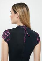 Lizzy - Auburn tie dye short sleeve swimsuit - black