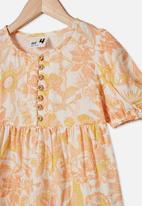 Cotton On - Meredith short sleeve dress - vanilla garden of birds
