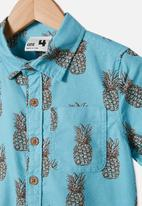 Cotton On - Resort short sleeve shirt - blue
