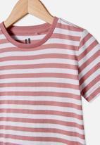 Cotton On - Core short sleeve tee - dusty berry white stripe