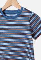 Cotton On - Core short sleeve tee - petty blue & amber brown stripe