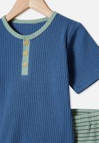 Cotton On - Luke short sleeve pj set - petty blue