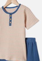 Cotton On - Luke short sleeve pj set - dark vanilla stripe
