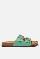 Cotton On - Rex double buckle slide - vivid green smooth pu