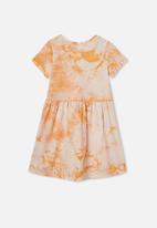 Cotton On - Freya short sleeve dress - apricot sun tie dye