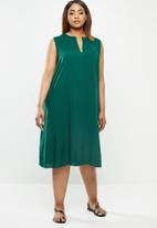 edit Plus - Short sleeve mandarin dress - green