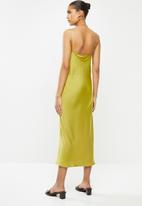 VELVET - Satin cowl midi slip dress - lime