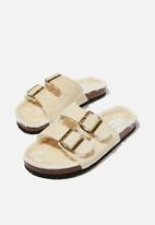Cotton On - Cosy double buckle slipper - tan