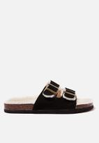 Cotton On - Cosy double buckle slipper - black