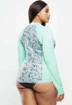 Lizzy - Plus size anupama floral long sleeve rash vest - grey & green