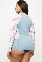 Lizzy - Plus size renisha floral upf long sleeve rash vest - multi