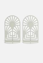 Emerging Creatives - Art deco bookend set of 2 - clay grey