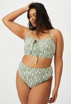 Cotton On - Curve high waisted full bikini bottom - khaki zebra