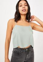 Cotton On - Astrid straight neck cropped cami - jade