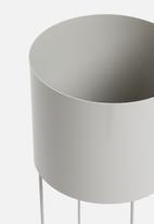 Emerging Creatives - Ava drum planter - clay grey
