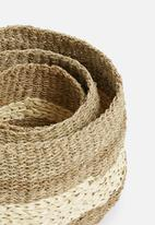 H&S - Palm leaft basket set of 3 - natural