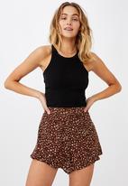 Cotton On - Didi frill short - sandy leopard chocolate