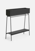 Emerging Creatives - Ava barrel planter with shelf - black