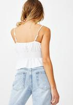 Cotton On - Dakota shirred crop cami - white