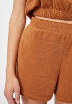 Cotton On - Terry towelling short - golden brown