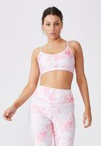 Cotton On - Workout yoga crop - inky reptile pinks