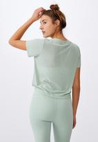 Cotton On - Tie up rib T-shirt - mint chip