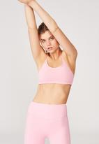 Cotton On - Workout yoga crop - strawberry milkshake texture