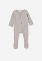 Cotton On - Organic newborn zip through romper - cloud marle