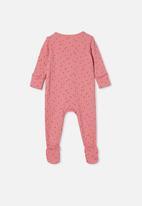 Cotton On - Organic newborn zip through romper - pink