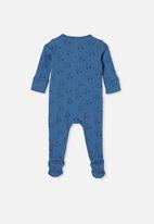 Cotton On - Organic newborn zip through romper - blue