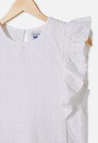 Free by Cotton On - Kiera broderie top - white
