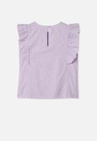 Free by Cotton On - Kiera broderie top - purple
