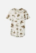 Free by Cotton On - Free boys long line tee - silver sage tie dye