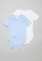 POP CANDY - 2 Pack short sleeve body vests - blue & white