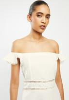 Blake - Linen blend fit & flare mini dress with lollipop trim - white