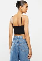 Blake - Cami crop top with lace - black