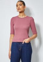 Superbalist - Single hi neck puff sleeve rib top - pink