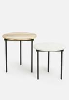 Sixth Floor - Juniper set of 2 side tables - brown & white