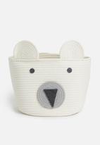 Sixth Floor - Polar bear cotton storage basket - white