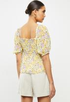 MANGO - Nicole blouse - yellow & purple