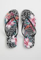 Havaianas - Slim animal floral - black