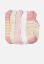 Cotton On - 5 pack sports low cut sock - misty rose chevron multi