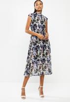 edit - Sleeveless gauged waist midi dress - multi