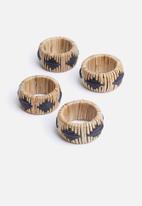 Sixth Floor - Rattan napkin ring holder set of 4 - natural & black