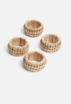 Sixth Floor - Rattan napkin ring holder set of 4 - natural