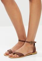 Superbalist - Gean leather ankle strap sandal - brown