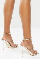 Public Desire - Heartbreak diamante strappy heel - silver